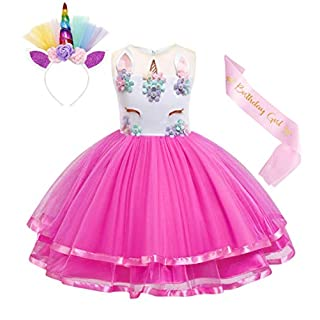 Cotrio Unicorn Costume Flower Girls Pageant Princess Party Dress with Headband 3-Pieces Rainbow Colourful Tutu for Birthday Halloween (4T, 3-4Years, Rose Red, 110)