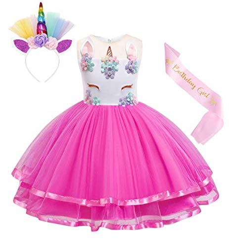 Cotrio Unicorn Costume Flower Girls Pageant Princess Party Dress with Headband 3-Pieces Rainbow Colourful Tutu for Birthday Halloween (5T, 4-5Years, Rose Red, 120)