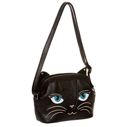 Banned Damen Handtasche Schwarze Katze - Cat Bells Umhängetasche mit Glöckchen
