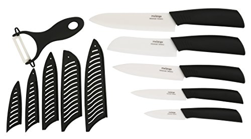 Melange 11-Piece Ceramic Knife Set with Black Handle and White Blade