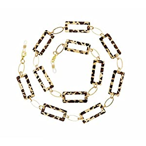 Beaded Eyeglass Chain Holder, Gold Fashion Lanyard Necklace, Jane - Leopard