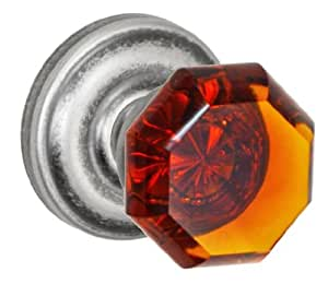 Fusion Hardware V-17-A5-0-ATP Elite Collection Victorian Amber Glass Privacy Knob with Ketme Rose, Fullset/Pair, Antique Pewter