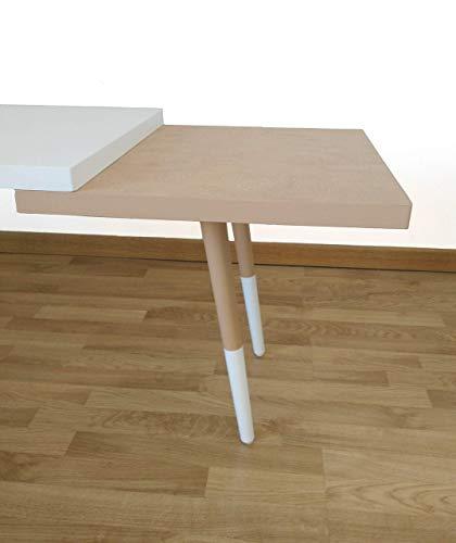 Mesa de centro, rectangular, blanca y marron, estilo nordico.