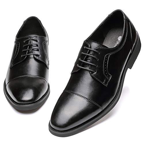 (GM GOLAIMAN Men's Dress Shoes - Classic Lace Up Derby Shoes Cap Toe Bluchers Black 13)