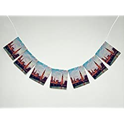 Cityscape London Elizabeth Tower Big Ben UK Landscape Banner Bunting Garland Flag Sign for Home Family Party Decoration
