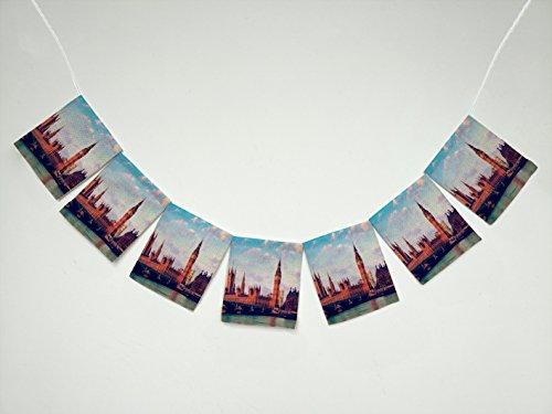 Cityscape London Elizabeth Tower Big Ben UK Landscape Banner Bunting Garland Flag Sign for Home Family Party Decoration ()