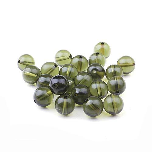 Calvas Natural Crystal Loose Beads Genuine Czech Moldavite Bead 10mm - (Item Diameter: 10mm 1 Bead)
