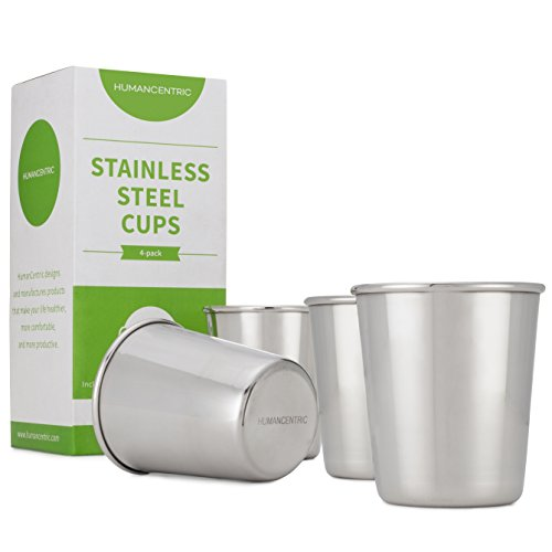 Stainless Steel Cups for Kids and Toddlers - Set of Four 8 oz BPA Free Cups - by HumanCentric