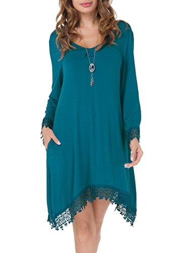 Invug Women Casual Soft Long Sleeve Pockets Lace Stretchy Swing T-shirt Dress Peacock Blue S