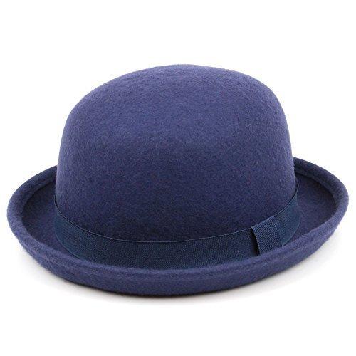 Chapeau melon en laine avec poignée derby Bleu marine classique femme Coloré