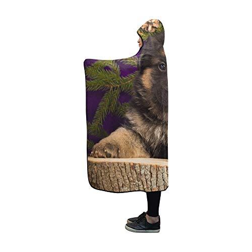YUMOING Hooded Blanket German Shepherd Puppy Sitting Fir Branches Blanket 60x50 Inch Comfotable Hooded Throw Wrap ()