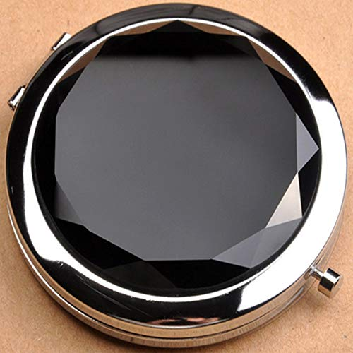 (Dealcase Jeweled Compact Vanity Mirror, Beautiful, Pretty, Shiny Silver Metal With Large Mirrored Rhinestone Attached, For Women, Girls, Gifts, Travel 1pc (Black))