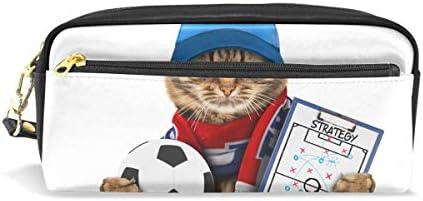 Estuche para lápices con cremallera grande para maquillaje, diseño de gato con pelota de fútbol sobre fondo blanco, estuche para lápices para niños y niñas, suministros escolares: Amazon.es: Oficina y papelería