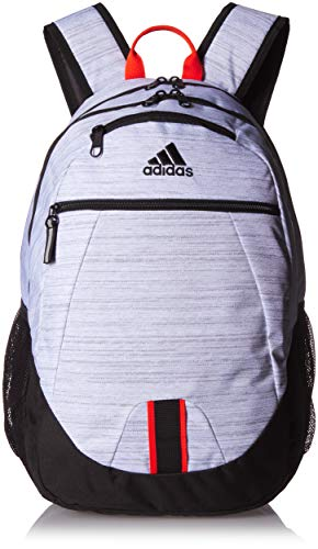 adidas Foundation Backpack, White Two Tone/Black/Active Orange, One Size