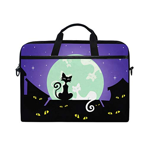 (TARTINY 15-15.4 Inch Laptop Bag Postcard Black White Cats On House Shoulder Messenger Bags Sleeve Case Tablet Briefcase with Handle Strap )