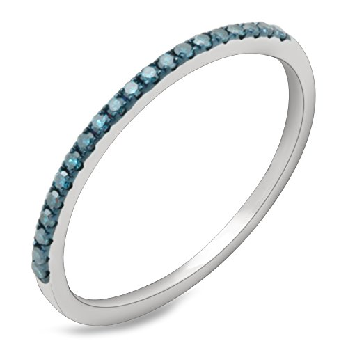 Diamond Flower Stackable Ring - Prism Jewel 0.15 Carat Round Blue Color Diamond Stackable Anniversary band, White Gold Plated Silver, Size 8