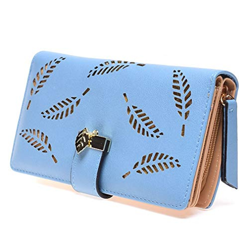 Leaves Hollow Women Wallet Soft PU Leather Women's Clutch Bag Female Ladies Wallets Coin Card Purse by WUDEF