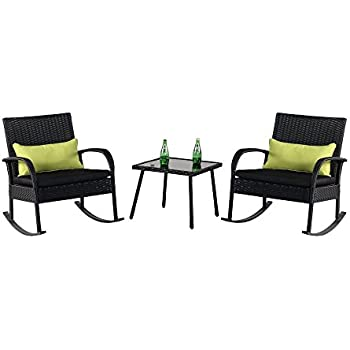 Delightful Cloud Mountain Outdoor 3 Piece Rocking Chair Set Wicker Rattan Bistro Set  Wicker Furniture   Two Chairs With Glass Coffee Table, Black Cushion With  Black ...