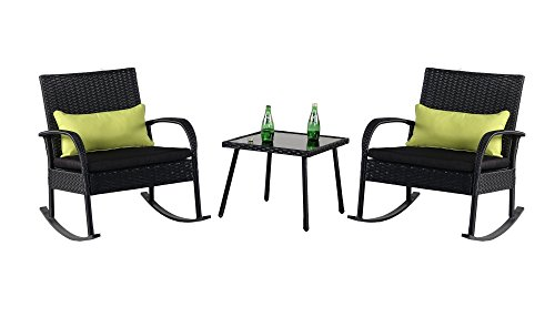 Cloud Mountain Outdoor 3 Piece Rocking Chair Set Wicker Rattan Bistro Set Wicker Furniture - Two Chairs with Glass Coffee Table, Black Cushion with Black Rattan (Wrought Iron Patio Furniture For Sale)
