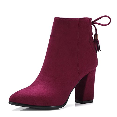 AgooLar Women's Pointed Closed Toe Solid Low Top High Heels Boots with Knot Claret
