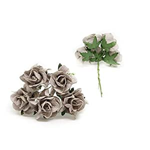 3.5cm Grey Mulberry Paper Rose Flowers with Wire Stems DIY Wedding Favor Decor Paper Bouquet Artificial Flowers Crafts Home Decorations, 25 Pieces 2