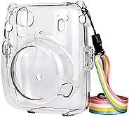 Ridecle Capa de câmera de cristal com alça de ombro ajustável de arco-íris compatível com Fujifilm Instax Mini