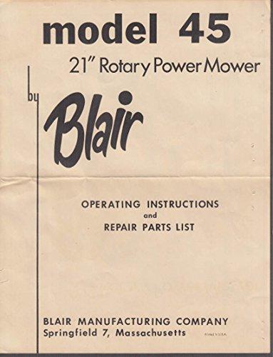 (Blair Model 45 Rotary Power Mower Instructions & Briggs & Stratton 8B-h Manual)