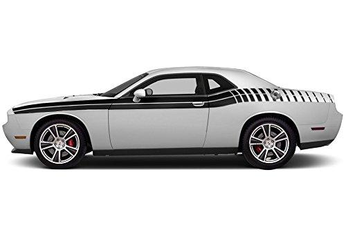 Kit Decal Graphics (FactoryCrafts Dodge Challenger 2011-2018 Gradient Stripe Graphics Kit 3M Vinyl Decal Wrap - Matte Black)