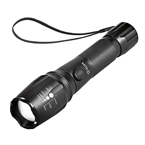 CVLIFE Super Bright LED Flashlight Rechargeable Torch 5 Mode with 18650 Battery 2 Chargers