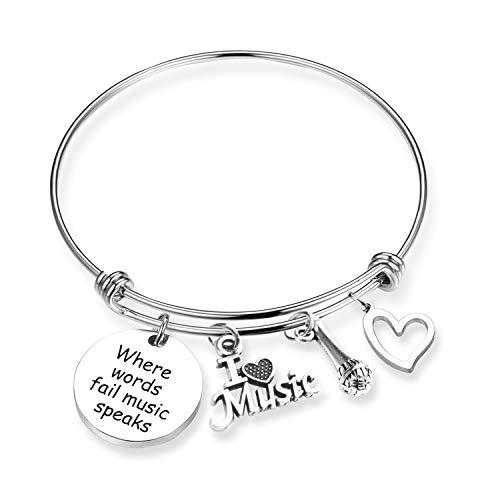 TOGON Music Gift Where Words Fail Music Speaks Music Charm Bangle Bracelet Guitar Pick Music Lovers Jewelry Music Teacher Gift (Music Speaks BR)