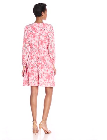 CeCe by Cynthia Steffe Womens Gemma Long-Sleeve V-Neck Floral Wrap Dress