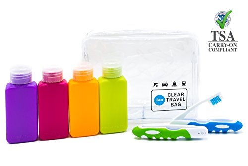 Lingito Travel Bottle Set, Leak Proof Travel Accessories, TSA Carry-On Approved, Refillable Travel Size Toiletries Containers. Bonus Toothbrush and Clear ()