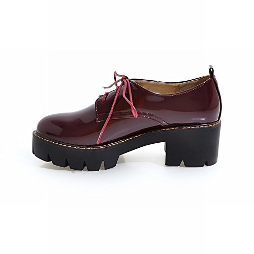 Charme Voet Dames Western Lace Up Dikke Midhak Oxfords Schoenen Wijnrood
