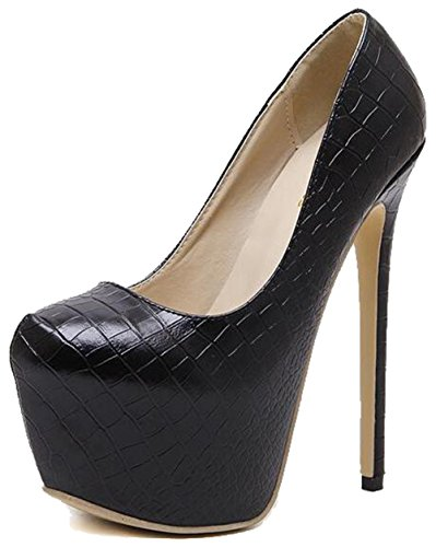 Easemax Womens Elegant Round Toe Platform High Stiletto Heel Pumps Shoes Black hTTIPsmFDe