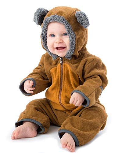 Funzies Baby Bunting Fleece Hooded Romper Bodysuit (BearBrown/Tan6-12m)