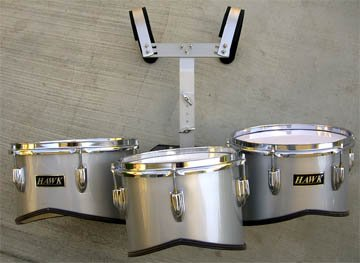 NEW SILVER COLOR MARCHING TRI-TOM DRUM 11''x 12''x 13'' by Hawk (Image #1)