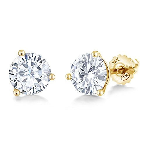 - Charles & Colvard Forever Classic 6mm 1.60cttw DEW White Created Moissanite 14K Yellow Gold Screw Back Posts Round Martini Stud Earrings