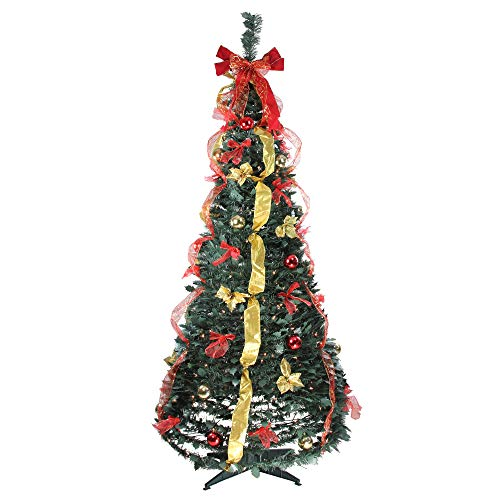 Northlight 6' Pre-Lit Red and Gold Decorated Pop-Up Artificial Christmas Tree - Clear Lights