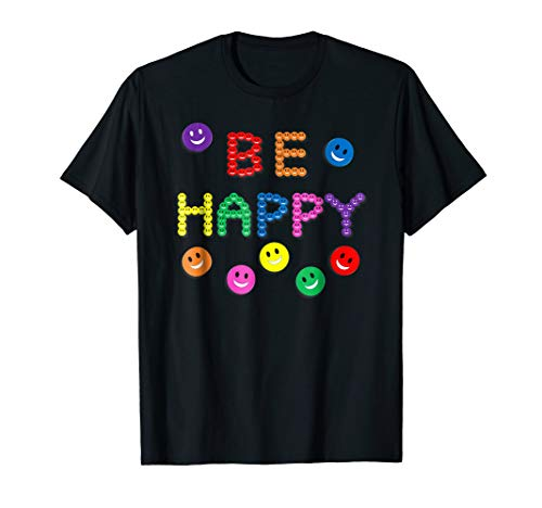 T-shirt Happy Face - Colorful Smiley Face Be Happy T-Shirt