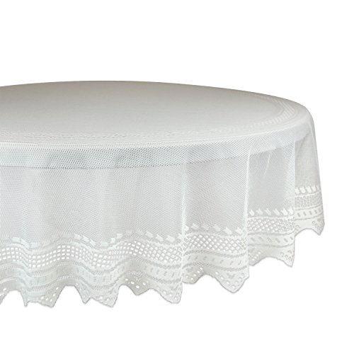 DII 100% Polyester, Machine Washable, Crochet/Lace Tablecloth, 70