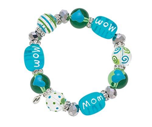 Clementine Design Kate & Macy Cherish Mom Bracelet Painted Glass Beads Rhinestones
