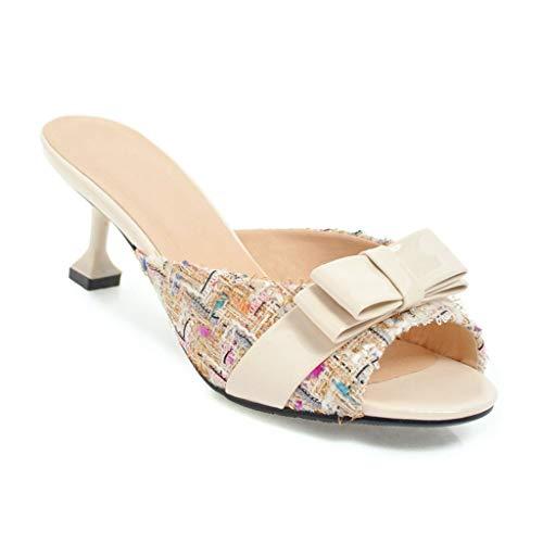 MIOKE Women's Comfy Kitten Low Heel Mules Sandals Peep Toe Sweet Bow Plaid Slip On Dress Slide Sandal Beige Apricot