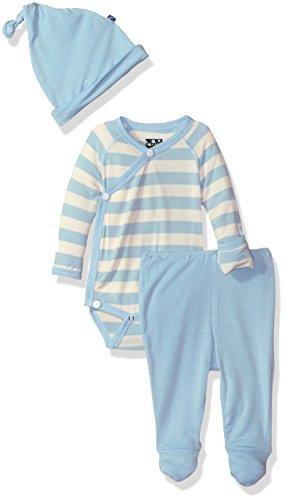 Kickee Pants Boys' Essentials Kimono Gift Set with Box, Pond Stripe, Newborn