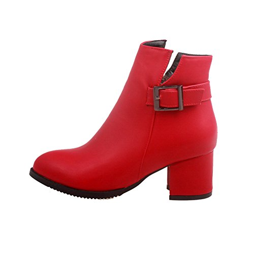 Closed Red Kitten Toe Heels Material Low AmoonyFashion Pointed Solid Soft Women's top Boots xqw7E4TCa