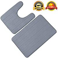 Bathroom Rug Mat,Bath Mat Memory Foam Bath Mat Rugs Bathroom Non-Slip Water Absorbent Microfiber Extra Soft Rugs, Set of 2 Memory Foam Bath Mat U-Shape Toilet Floor Rug (Gray)