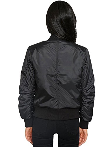 Stylish Bomber up Jacket Vintage Bomber Jacket Women Coat Black Zip Padded Classic Biker 5wXAn8qn