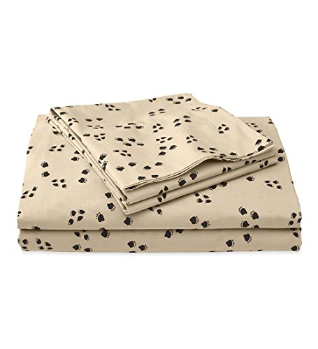 Black Bear Paw Prints - Queen Paw Print Cotton Percale Sheet Set