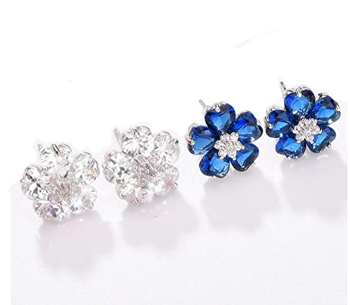 YHMM Hypoallergenic Flower Stud Earrings for Women Girls,18K White Gold Plated 10 Pcs Heart Shape CZ Daisy Studs Clear/Blue/Red 12.8mm. (2 Pairs Clear+Blue)