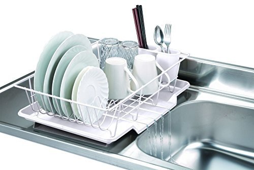 3 Piece Kitchen Sink Dish Drainer Set - White