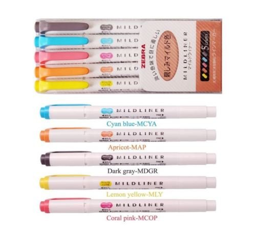 colori pastello Zebra Mildliner Set di 20 evidenziatori